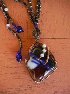 wire-wrapped glass jewelry