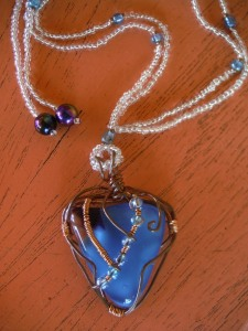 fused glass wire wrapped jewelry